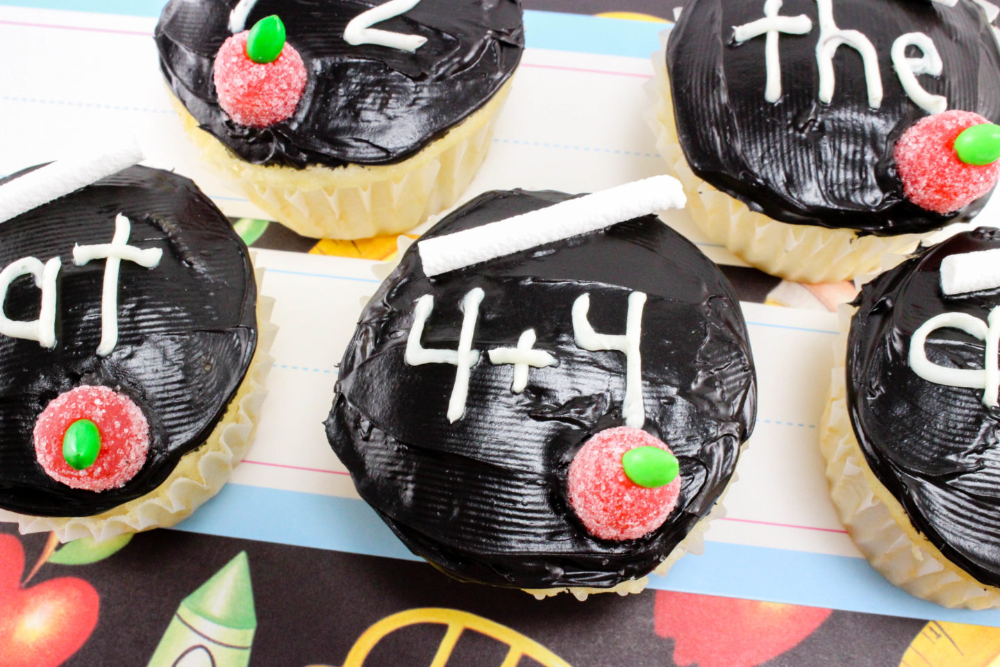 Back To School Chalk Board Cupcakes