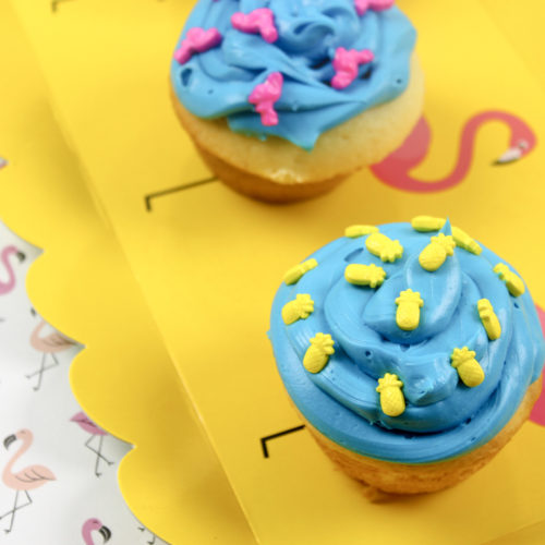 Colorful Last Days of Summer Pineapple Flamingo Cupcakes